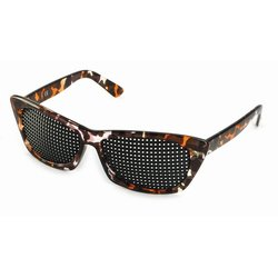 Pinhole glasses 415-FMP, quadratic pattern, brown marbled