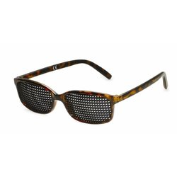 Pinhole glasses 415-IMP, quadratic pattern, brown marbled