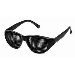 Pinhole glasses 415-JGP, quadratic pattern, black