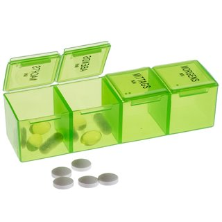 XXL Weekly Pill Box with 4 Compartments per day in leather case