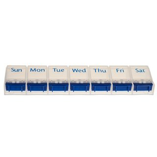 Weekly Pill Case with 7 compartments and opener in blue/white - english