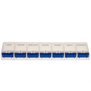 Weekly Pill Case with 7 compartments and opener in blue/white - italian