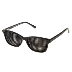 Acetate pinhole glasses 425-ASP, black, quadratic pattern