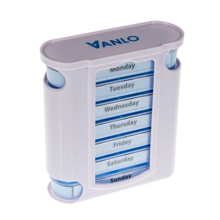 Tower Pillbox Pill box for 7 Days with 4 Daily schedule lines - English