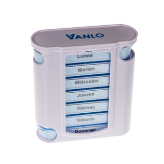 Tower Pillbox Pill box for 7 Days with 4 Daily schedule lines - Spanish