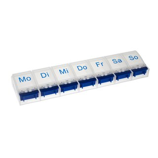 Weekly Pill Case with 7 compartments and opener in blue/white - German
