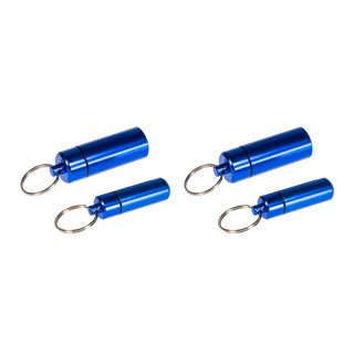 Pill Box Aluminium pack of 4 - waterproof with key ring - Special package